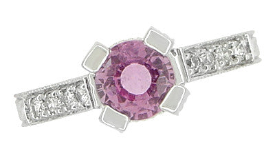 Art Deco Pink Sapphire Engraved Castle Engagement Ring in Platinum - Item: R665PS - Image: 6