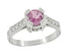 Art Deco 1 Carat Pink Sapphire Engraved Castle Engagement Ring in Platinum