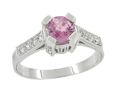 Art Deco Pink Sapphire Engraved Castle Engagement Ring in Platinum