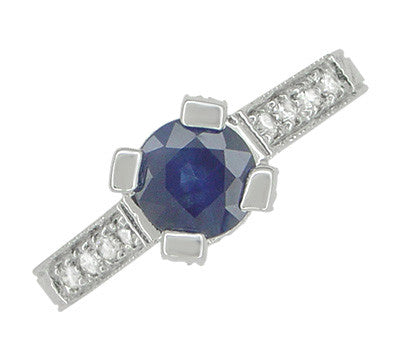 Art Deco 1 Carat Blue Sapphire Engraved Castle Engagement Ring in Platinum - Item: R665S - Image: 2