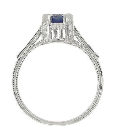 Art Deco 1 Carat Blue Sapphire Engraved Castle Engagement Ring in Platinum - Item: R665S - Image: 5