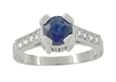 Art Deco 1 Carat Blue Sapphire Engraved Castle Engagement Ring in Platinum - Item: R665S - Image: 1
