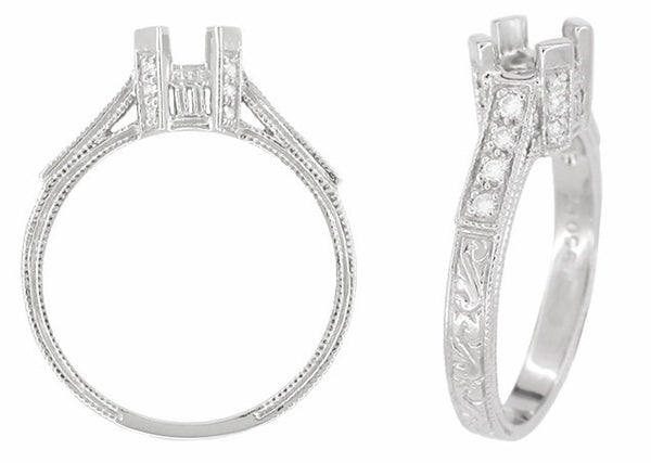 Art Deco 1 Carat Diamond Filigree Engagement Ring Mounting in Platinum with Carved Sides - Item: R666 - Image: 1