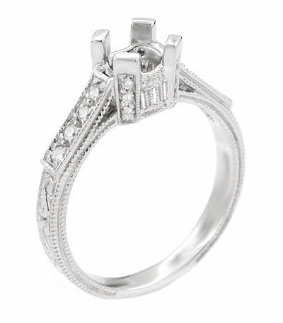 Art Deco 1 Carat Diamond Filigree Engagement Ring Mounting in Platinum with Carved Sides