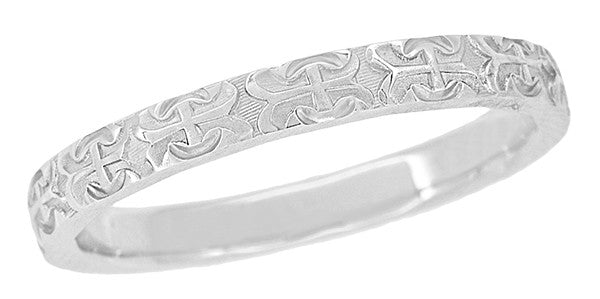 Love Anchor and Cross Engraved Vintage Pattern Wedding Band for a Man | Size 10 | 3mm Wide | 14K White Gold
