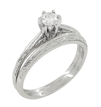 Art Deco Engraved Scrolls White Sapphire Engagement Ring and Wedding Ring Set in Platinum - Item: R670PWS - Image: 1