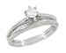 Art Deco Engraved Scrolls White Sapphire Engagement Ring and Wedding Ring Set in 14 Karat White Gold