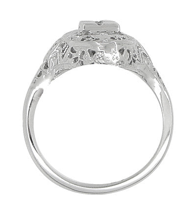 Art Deco Filigree Lozenge Shape Hearts & Diamonds Cocktail Ring in 14 Karat White Gold - Item: R671 - Image: 3