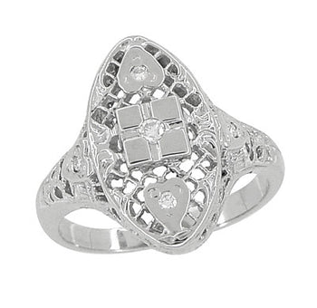 Art Deco Filigree Lozenge Shape Hearts & Diamonds Cocktail Ring in 14 Karat White Gold