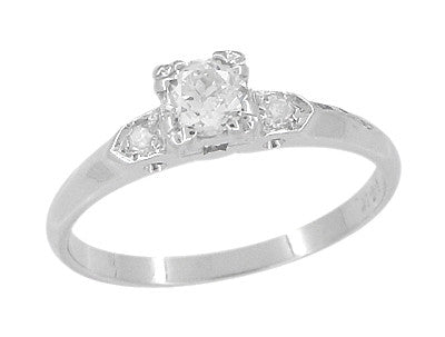 Retro Moderne Antique 14 Karat White Gold Diamond Engagement Ring - Item: R672 - Image: 1