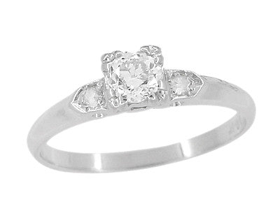Retro Moderne Antique 14 Karat White Gold Diamond Engagement Ring