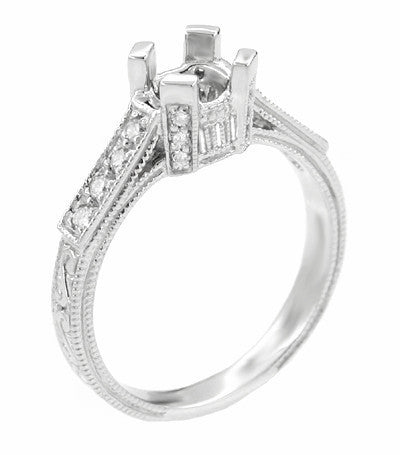 Art Deco Engraved Filigree Citadel 1 Carat Diamond Engagement Ring Mounting in Platinum