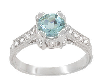 Art Deco Engraved Citadel 1 Carat Aquamarine Engagement Ring in Platinum - Item: R673A - Image: 2