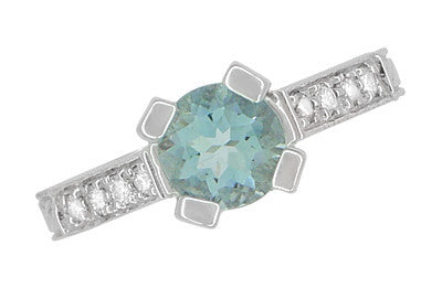 Art Deco Engraved Citadel 1 Carat Aquamarine Engagement Ring in Platinum - Item: R673A - Image: 3