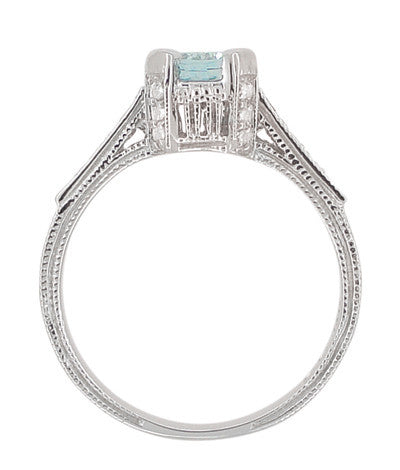 Art Deco Engraved Citadel 1 Carat Aquamarine Engagement Ring in Platinum - Item: R673A - Image: 4