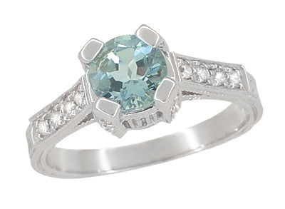 Art Deco Engraved Citadel 1 Carat Aquamarine Engagement Ring in Platinum - Item: R673A - Image: 1