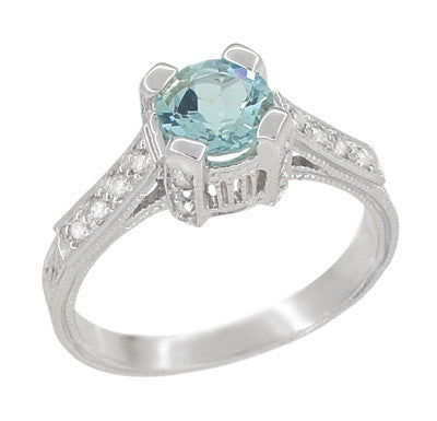 Art Deco Engraved Citadel 1 Carat Aquamarine Engagement Ring in Platinum