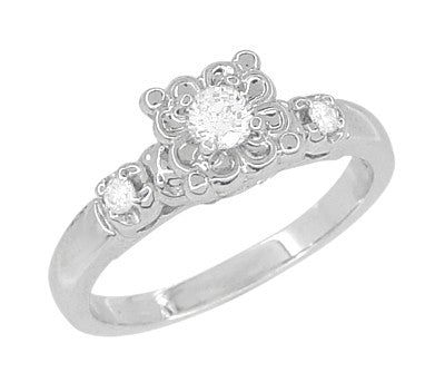 1950's Platinum Retro Moderne Lucky Clover Diamond Engagement Ring