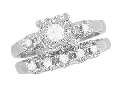 Retro Moderne Lucky Clover Diamond Engagement Ring & Wedding Band Set - Platinum - Item: R674PS - Image: 2