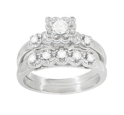 Retro Moderne Lucky Clover Diamond Engagement Ring & Wedding Band Set - Platinum - Item: R674PS - Image: 1