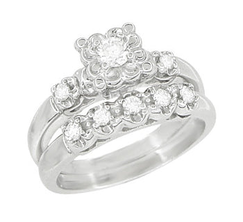Retro Moderne Lucky Clover Diamond  Engagement Ring and Wedding Ring Set in 14 Karat White Gold