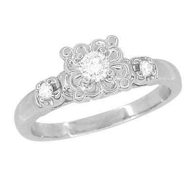 Lucky Clover Retro Moderne White Sapphire Engagement Ring in 14 Karat White Gold