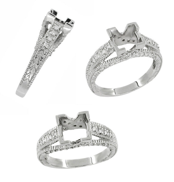 X & O Kisses 3/4 Carat Princess Cut Diamond Engagement Ring Setting in 18 Karat White Gold - Item: R676 - Image: 1