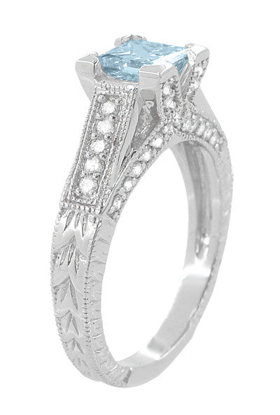 X & O Kisses 3/4 Carat Princess Cut Aquamarine Engagement Ring in 18 Karat White Gold - Item: R676A - Image: 2