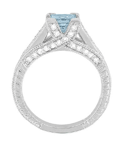 X & O Kisses 3/4 Carat Princess Cut Aquamarine Engagement Ring in 18 Karat White Gold - Item: R676A - Image: 3