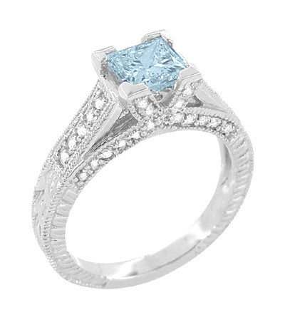 X & O Kisses 3/4 Carat Princess Cut Aquamarine Engagement Ring in 18 Karat White Gold - Item: R676A - Image: 1