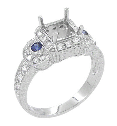 Art Deco Sapphire and Diamonds Engraved Wheat and Scrolls Engagement Ring Setting in 18 Karat White Gold - Item: R677 - Image: 2