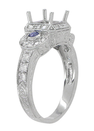 Art Deco Sapphire and Diamonds Engraved Wheat and Scrolls Engagement Ring Setting in 18 Karat White Gold - Item: R677 - Image: 3