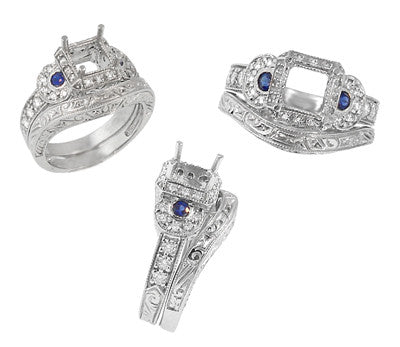 Art Deco Sapphire and Diamonds Engraved Wheat and Scrolls Engagement Ring Setting in 18 Karat White Gold - Item: R677 - Image: 6
