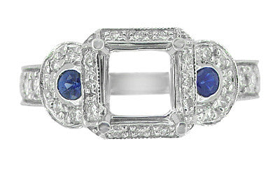 Art Deco Sapphire and Diamonds Engraved Wheat and Scrolls Engagement Ring Setting in 18 Karat White Gold - Item: R677 - Image: 1