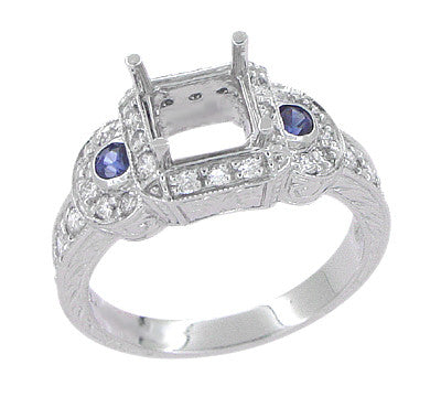Art Deco Sapphire and Diamonds Engraved Wheat and Scrolls Engagement Ring Setting in Platinum