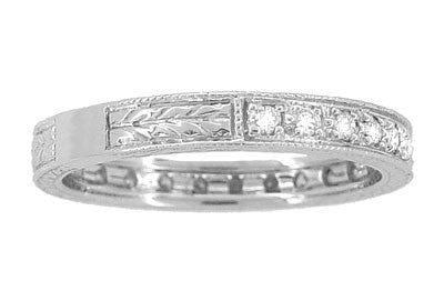 Art Deco Engraved Wheat Diamond Eternity Wedding Band in 18 Karat White Gold - Item: R678 - Image: 2