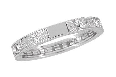 Art Deco Engraved Wheat Diamond Eternity Wedding Band in 18 Karat White Gold - Item: R678 - Image: 3