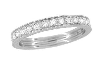 Art Deco Engraved Wheat Eternity Diamond Wedding Band in Platinum