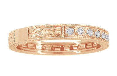Art Deco Engraved Wheat Diamond Eternity Wedding Band in 14 Karat Rose ( Pink ) Gold - Item: R678R - Image: 2