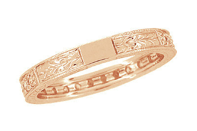 Art Deco Engraved Wheat Diamond Eternity Wedding Band in 14 Karat Rose ( Pink ) Gold - Item: R678R - Image: 3