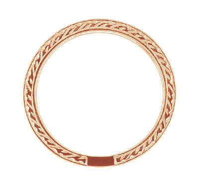 Art Deco Engraved Wheat Diamond Eternity Wedding Band in 14 Karat Rose ( Pink ) Gold - Item: R678R - Image: 1
