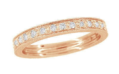 Art Deco Engraved Wheat Diamond Eternity Wedding Band in 14 Karat Rose ( Pink ) Gold