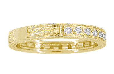 Art Deco Carved Wheat Diamond Eternity Wedding Band in 18 Karat Yellow Gold - Item: R678Y - Image: 2