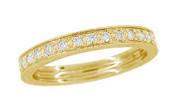 Yellow Gold Art Deco Carved Wheat Diamond Eternity Wedding Band - 14K or 18K