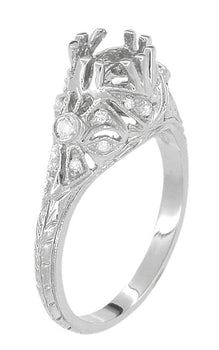 Antique Style Edwardian Filigree 3/4 Carat Engagement Ring Mounting in 18 Karat White Gold | 6mm Round