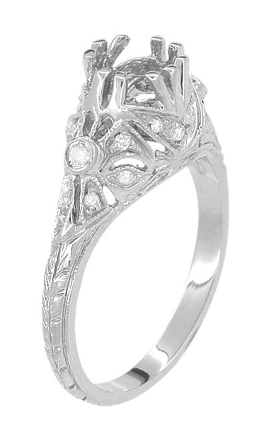Edwardian Antique Style 1 Carat to 1.30 Carat Filigree Engagement Ring Mounting in 18 Karat White Gold for a Round Stone - Item: R6791 - Image: 3