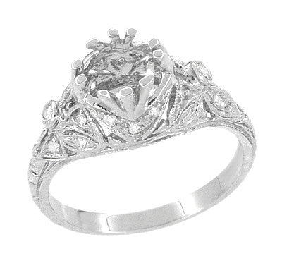 Edwardian Antique Style 1 Carat to 1.30 Carat Filigree Engagement Ring Mounting in 18 Karat White Gold for a Round Stone - Item: R6791 - Image: 4