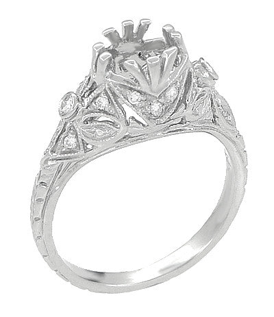 Edwardian Antique Style 1 Carat to 1.30 Carat Filigree Engagement Ring Mounting in 18 Karat White Gold for a Round Stone - Item: R6791 - Image: 1