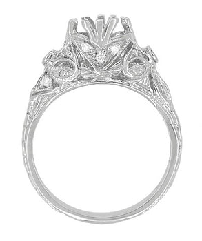 Edwardian Antique Style 1 Carat Filigree Engagement Ring Mounting in 18 Karat White Gold for a 6.5mm Round Stone