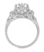 Edwardian Antique Style 1 Carat to 1.30 Carat Filigree Engagement Ring Mounting in 18 Karat White Gold for a Round Stone